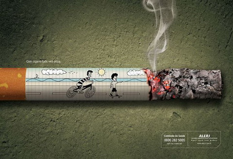 Anti-Smoking - With cigarettes, your life goes to ashes.