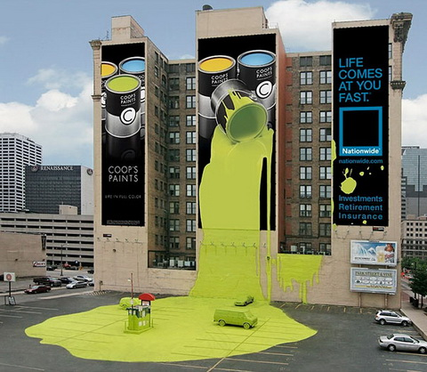 Billboard - (Coop's Paints & Investments Retirement Insurance)